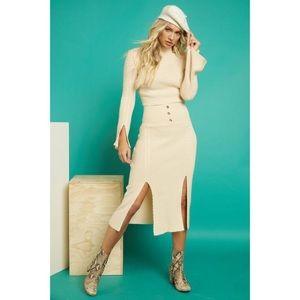 Beige High Waisted Knit Midi Skirt